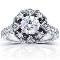 Annello by Kobelli 14k Gold 1 1/5ct TDW Round-cut Diamond Edwardian Antique Engagement Ring
