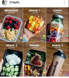 Quick and Simple 21 Day Fix Meal Prep for the - Calorie Level / Breakfast: 1 cup oatmeal (made from ½ cup rolled oats) with 3 tsp. peanut butter and 1 cup fresh berries purple, 2 yellow, 3 tsp.) Snack Avocado Toast with Tomatoes made wit Healthy Drinks, Healthy Eating, How To Eat Healthy, Healthy Fridge, Easy Meal Prep, Meal Preparation, Lunch Meal Prep, Meal Prep Keto, Weekly Meal Prep