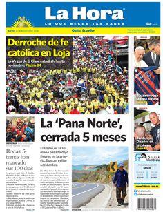 Los temas destacados son: Derroche de fe católica en Loja, La 'Pana Norte' cerrada 5 meses, Todas: 5 temas han marcado sus 100 días, Bauza entrega la copa al Papa, y Tendencia: Diseños en la cabeza