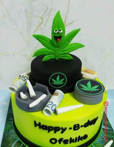 50 Most Beautiful looking Weed Cake Design that you can make or get it made on the coming birthday. Weed Birthday Cake, 24th Birthday Cake, Bithday Cake, Birthday Party For Teens, Birthday Cakes For Men, Michael Jordan Cake, Rasta Cake, Cake Serving Chart, Cake Design For Men