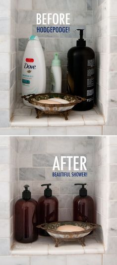 Shower Organization Before and After sell your house