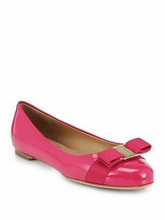 Salvatore Ferragamo - Varina Patent Ballet Flats - Saks.com in Morning Rose $450