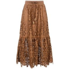 See By Chloé 3/4 Length Skirt ($470) ❤ liked on Polyvore featuring skirts, brown, see by chloé, high waisted lace skirt, high-waist skirt, high-waisted skirt and brown lace skirt