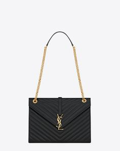 bd01014aec large envelope chain bag in black textured matelassé leather