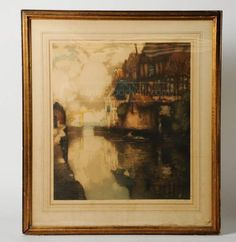shopgoodwill.com: Antique French Color Engraving River Scene Signed French Colors, Art Auction, French Antiques, Scene, River, Painting, Painting Art, Rivers, Paintings