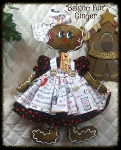 "Primitive Raggedy Gingerbread Doll ""Baking Day Fun"" Ginger Creek Crossing 