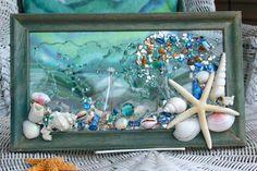 Seashell Wave Glass Art, Starfish Art, Beach Home Decor Wall Hanging, Glass Beach Art, Coastal Living Decor, Beach House Decor, by SeaSideCreations1 on Etsy