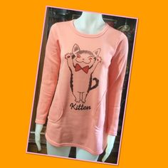 Kitten peach sweatshirt Peach winter sweatshirt new in the bag and tag on the bag Tops Sweatshirts & Hoodies