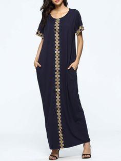 #AdoreWe #JustFashionNow Casual Dresses❤️Designer JianShanFS Navy Blue Short Sleeve Paneled Maxi Dress - AdoreWe.com