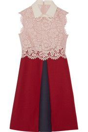 Lace and wool and silk-blend crepe mini dress