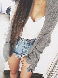 Cute Summer style; high waisted shorts, white tank top, and an oversized grey cardigan