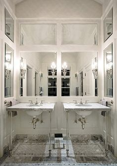 Glamorous Bathroom with Paneled, Mirrored Walls
