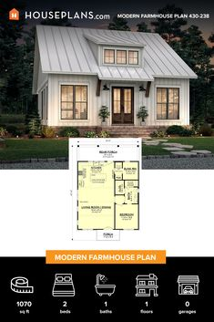 Cottage Floor Plans, Cabin Floor Plans, Craftsman House Plans, Dream House Plans, Modern Farmhouse Plans, Modern House Plans, Small House Plans, Cottage Living, Cottage Homes