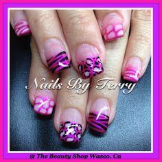 Pink animal print gel nails