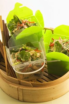 Asian noodle salad in take-away box