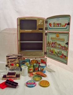"""Wolverine Children's Tin Toy Refrigerator - Complete - Vintage 1950's """"Pink""""...matches my pink stove!"""
