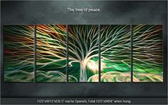 """Original Metal Wall Art Modern Painting Sculpture Indoor Outdoor Decor """"The Tree Of Peace"""" by Ning"""