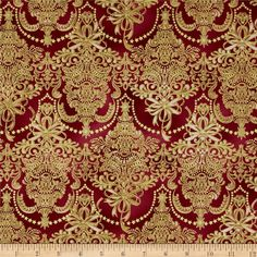 Holiday Flourish Metallic Damask Cranberry from @fabricdotcom  Designed by Peggy Toole for Robert Kaufman, this cotton print fabric is perfect for quilting, apparel and home decor accents. Colors include cream, red and gold. Features gold metallic accents throughout.