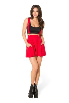 Matte Red Pinafore Pocket Skater Skirt (WW $75AUD / US $70AUD) by Black Milk Clothing