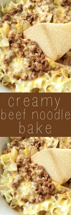 Creamy beef noodle bake Tender egg noodles, melty cheese, and a creamy tomato ground beef mixture make for one amazing, and family-friendly dinner! The entire family will love this simple and easy creamy beef noodle bake. Beef And Noodles, Egg Noodles, Beef Dishes, Food Dishes, Main Dishes, Great Recipes, Favorite Recipes, Recipes Dinner, Popular Recipes