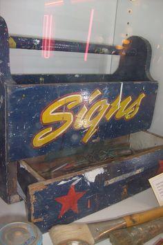 Sign painter's tool box, American Sign Museum, Cincinnati, Ohio