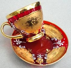 Moser Tea Cup Saucer Bohemian Czech Ruby Red Glass Gold Enamel Gilt Decor Vtg