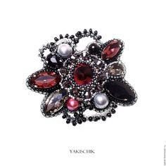 """Купить Брошь """"Vinous"""" - бордовый, винный серый, брошь на платье, брошь цветок, кружевная ажурная"""
