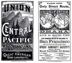 Covers from the timetable and map for The Great American Over-Land Route, 1881. Union and Central Pacific Railroad Line. Public domain.
