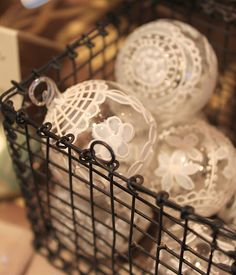 DIY:: Lovely White Lace ornaments