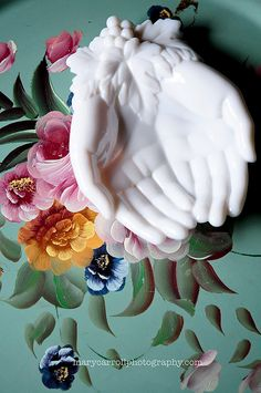 Milk glass hands and a tole tray! Two favorites!
