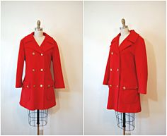 vintage 1960s coat / bright red winter coat / Cardinal Red peacoat.