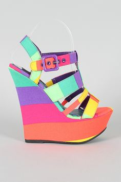 Dollhouse Electric Printed Strappy Open Toe Platform Wedge $30.40