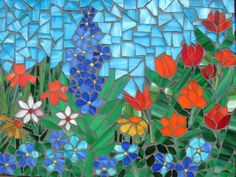 Mosaic  Panel SPRING FLOWERS por andreamosaic en Etsy, $190.00