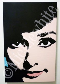 Audrey Hepburn pop art stretched canvas print, 11x17, Limited Edition. $45.00, via Etsy.