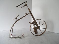 Metal Bicycle Sculpture Vintage One Wheel Oddity by HobbitHouse