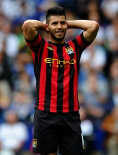 Sergio Aguero of Manchester City reacts to a missed chance during the Barclays Premier League match between Bolton Wanderers and Manchester City at the Reebok Stadium on August 2011 in Bolton, England. Football Is Life, Football Boys, Sergio Aguero, Zen, Kun Aguero, Bolton Wanderers, Soccer Pictures, Barclay Premier League, Trendy Haircuts