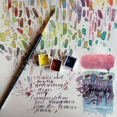 Color Mixing with Winsor & Newton Manganese Blue Hue, Quinacridone Red & Winsor Lemon. On Clairefontaine Carnet de Voyage.