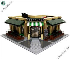 Hello. Introducing Starbucks cafe modular. The following is a summary work. ■ Summary Theme : Starbucks Cafe Modular -Size : 255(W) X 335(H) X 255(D) -Weight : 2.6kg -Brick : almost 3000 pcs -Period : 3 weeks ■ Explanation Concept of this work is the exterior design was old fashioned architecture and the interior emphasized the charm of the Lego. The color of this work was made by tan and dark green color. Made from modular series similar size, the product can also be combined with each…