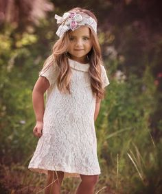 This Cream Floral Lace Andrea Tunic - Infant, Toddler & Girls is perfect! #zulilyfinds