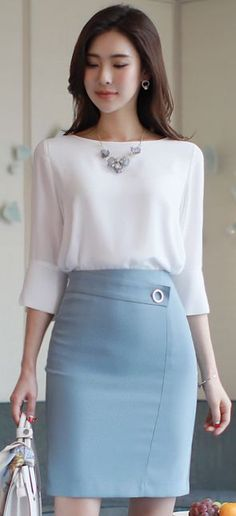Decorative Belt Slim Fit H-Line Skirt – Moda Office Fashion, Work Fashion, Modest Fashion, Fashion Dresses, Office Outfits, Work Outfits, Work Attire, Classy Outfits, Skirt Outfits