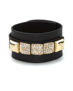 "Some of you have to get in on this: Kenneth Jay Lane ""Couture"" Leather Crystal Bracelet"