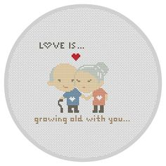 LOVE IS... Cross Stitch Pattern Modern Wedding cross by Xrestyk