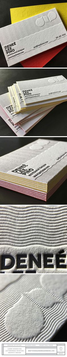 Business cards with unique texture created by blind impression. 1-color letterpress and duplexed paper. Design by Denee Pino.
