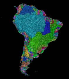 River Basins Of South America In Rainbow Colours