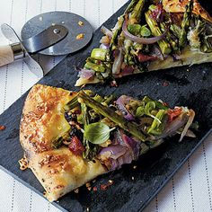 Grilled Pizza with Asparagus and Caramelized Onion by Cooking Light