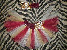 NFL Washington Redskins Football Inspired Tutu Set Custom Skirt & Bow Set Crochet Elastic Waist Band $12.95