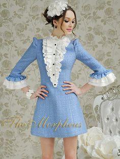 Morpheus Boutique  - Blue White Celebrity Vintage Style Ruffle Knit Dress
