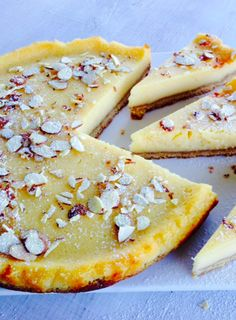 Lemon and Almond Tart. I've combined two of my favourite recipes to make this silky smooth tart; a crisp, nutty biscuit base and a tangy lemon filling – delicious! Lemon Desserts, Lemon Recipes, Tart Recipes, Just Desserts, Sweet Recipes, Baking Recipes, Delicious Desserts, Dessert Recipes, Yummy Food