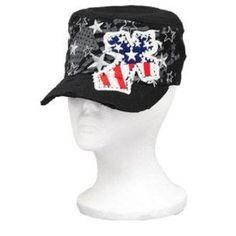 Black Stars and Stripes Rhinestone Cross Cadet Hat