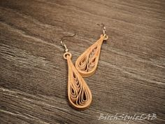 Pair of birch bark earrings. Wooden earrings with by BirchStyleLAB